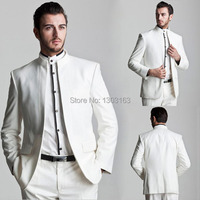 Free Shipping New Style White Groom Tuxedos Mandarin Lapel Groomsmen Men Wedding Groom Wear Suit Custom