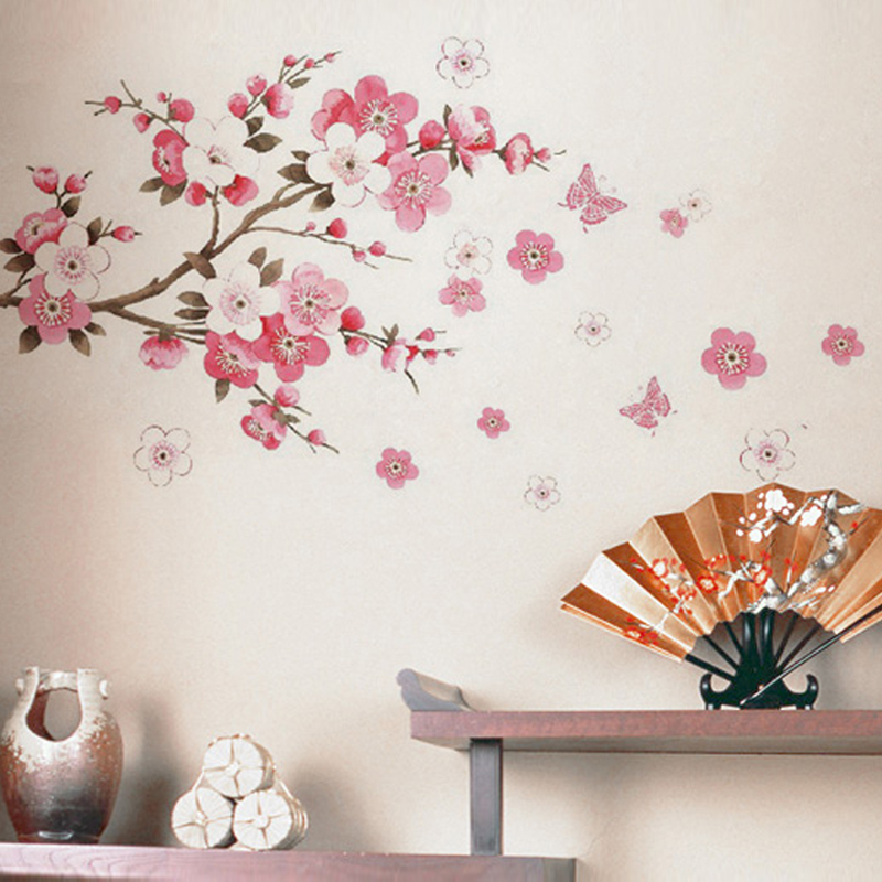 Shijuehezi Cherry Blossom Wall Stickers Waterproof Wall Decals Diy Flowers Home Decoration Accessories Living Room Wall