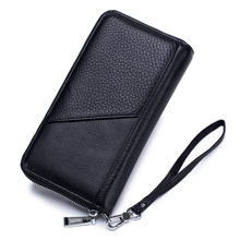 Genuine Leather Large Capacity Men Wallets Multi-Card Bit Zipper Purse With Hand Rope New Arrivals Brand Famous Long Man Wallet стоимость