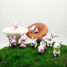 4pcs Cute Rabbit Mini Animals Miniature Fairy Garden Home De