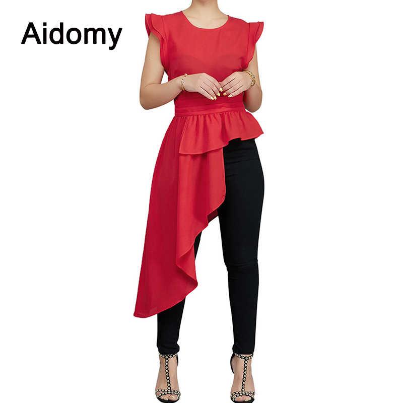 3b4c70aa24f5d8 Asymmetrical Long Shirt Women Sleeveless Ruffles Peplum Top Women Summer  2018 Elegant Ladies Evening Party Blouses