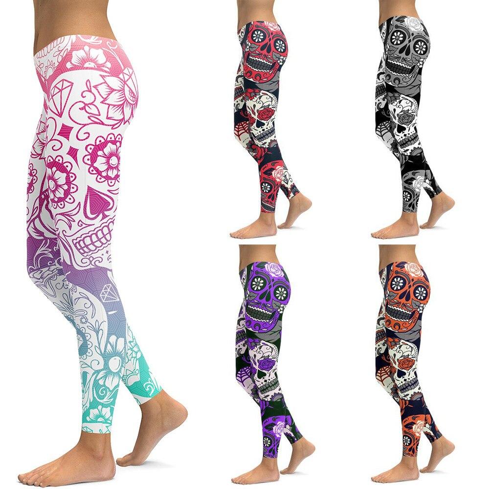 MatveyLeng Fashion Slim Hips Ladies Pants Digital Print Skull Pattern   Leggings   High Quality Elastic   Leggings   Free Shipping