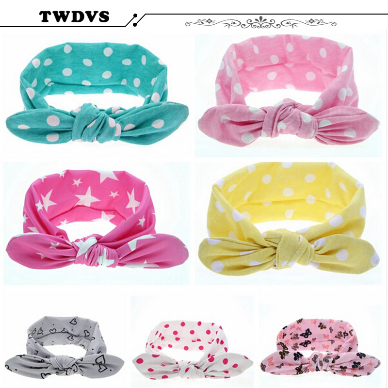 TWDVS Baby Headwear Girl Dot Knot Headband Newborn Infant Hair Accessories Children Elastic Hair Bands Photography Props KT001