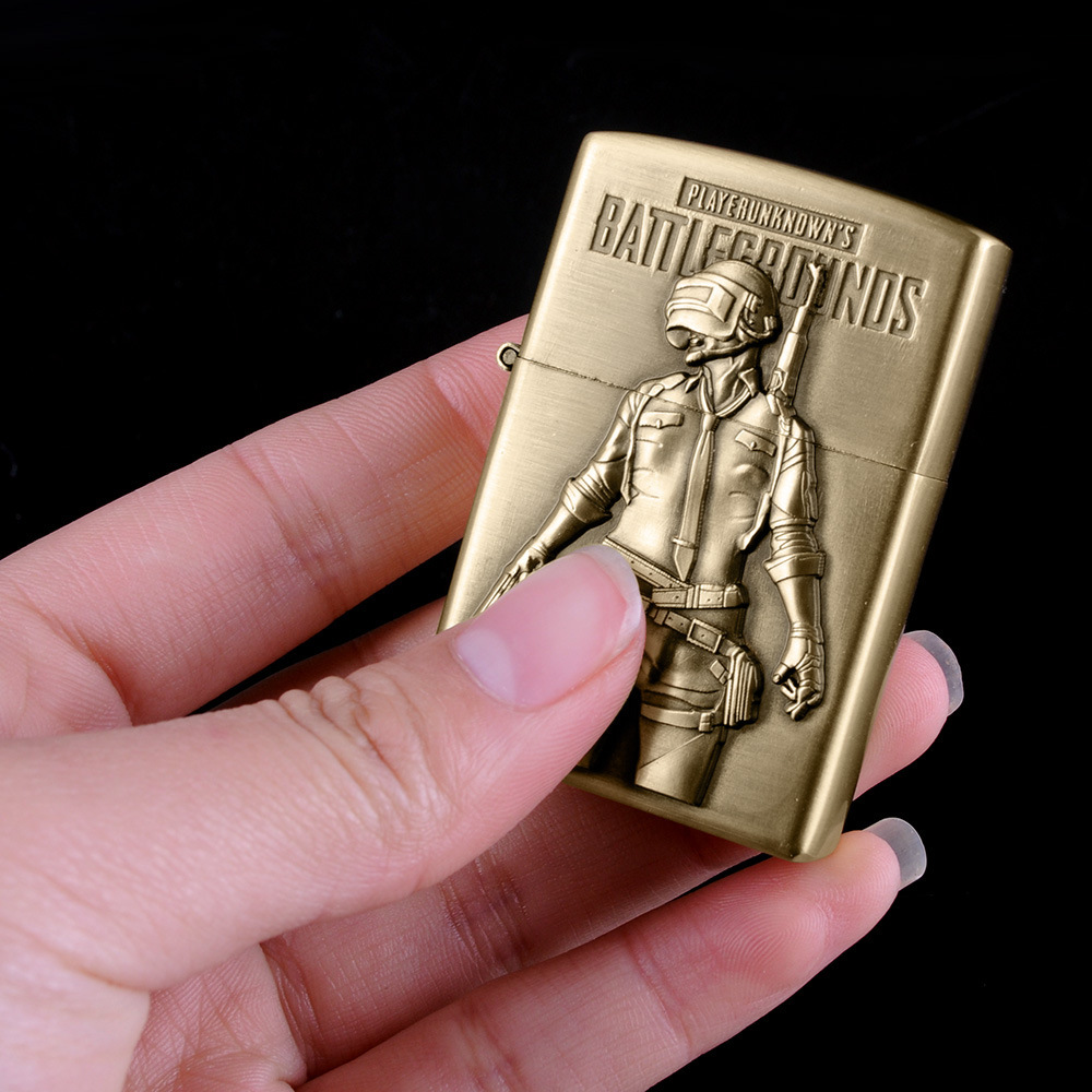 Image 4 - Bronze kerosene lighter new PUBG men's battlefield lighter flint refillable petrol cigarette metal retro gadget-in Matches from Home & Garden