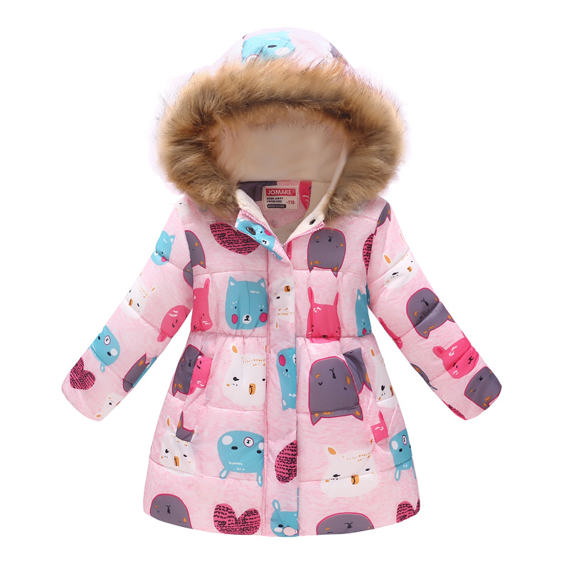 Winter Girls Warm Down Jackets Kids Fashion Printed Thick Outerwear Children Clothing Autumn Baby Girls Cute Jacket Hooded Coats (1)