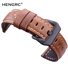 Wholesale 10pcs/set Watchbands  Retro Genuine Leather Brown Men 20 22 24mm Soft Watch Band Strap Metal Pin Buckle Accessories wholesale 10pcs set metal watch buckle 18 20 22 24mm men watchband strap 316l stainless steel clasp accessories