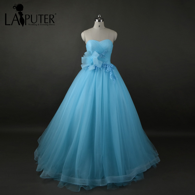 9b0687da56 Real Photos Sweetheart Off Shoulder Sky Blue Evening Dress Long 2017  Beautiful Lace-up Back Tulle Party Prom Dresses LAIPUTER