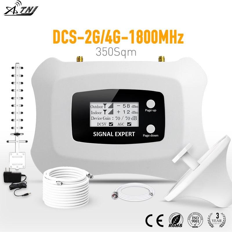 Домашний и модный повторитель сигнала 2G 4G ЖК-дисплей DCS 1800 мГц Мобильный усилитель сигнала с антенной Яги и потолочной антенной комплект