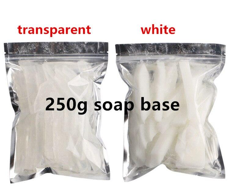 250g Base de jabón blanco transparente DIY hecho a mano jabón materia prima fabricación de jabón paño de cuerpo de mano lavado