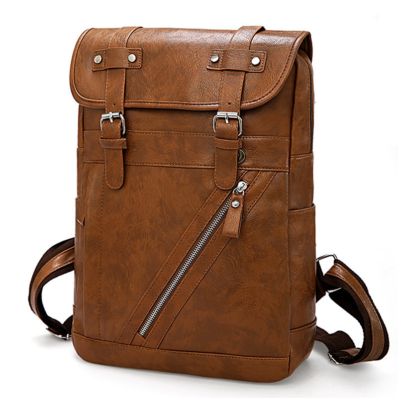Vintage Designer Men Backpack Waterproof PU Leather Travel Bag Man Large Capacity Teenager Male School Mochila Laptop Backpacks
