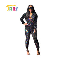 JRRY Sexy Woman Jumpsuit Sequined Silver Gradual Leisure Suit Solid O Neck Zipper