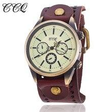 Ccq 2016 vendimia de la manera correa de cuero relojes de pulsera unisex reloj de cuarzo analógico casual regalo relogio feminino 681