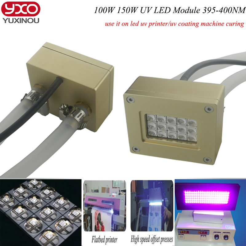 100 w 150 w uv led module 395nm pour la lumière uv, Imprimante À Plat, colle uv lampe à polymériser d'encre, Impression écran machine d'impression, 3D Pprinter