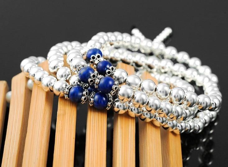 FRI FRAKT 925 naturliga lapis lazuli 108 sterling silver pärlor - Fina smycken