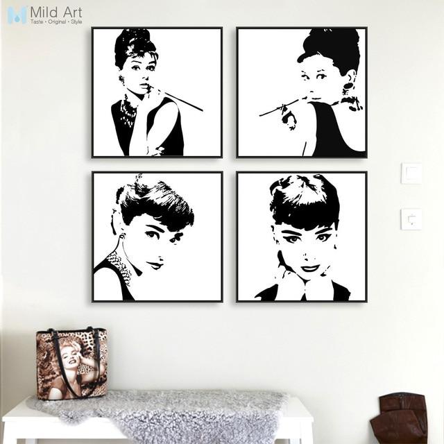 Aliexpress.com : Buy Modern Minimalist Black White Audrey Hepburn ...