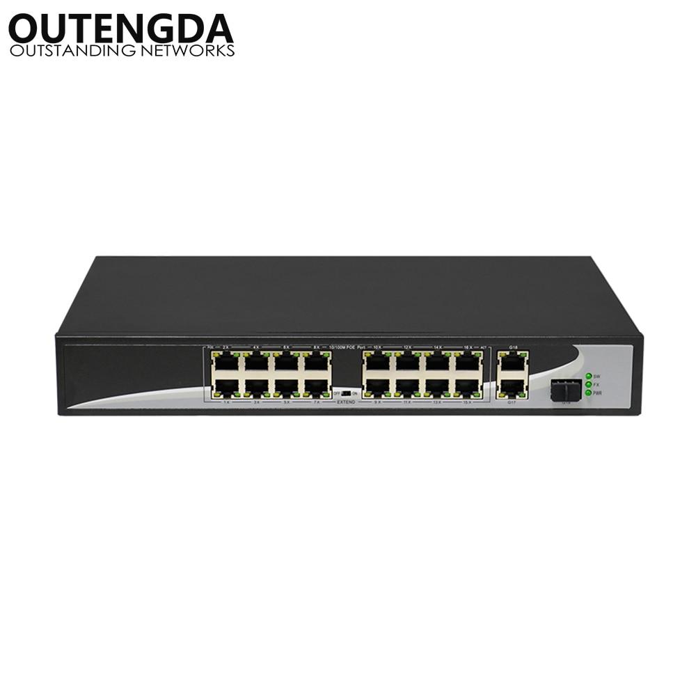 16 ports POE Commutateur avec 16 POE Ports 2 Gigabit Uplink 1*1000 mbps SFP Puissance pour Caméra IP, sans fil AP, IP Téléphone