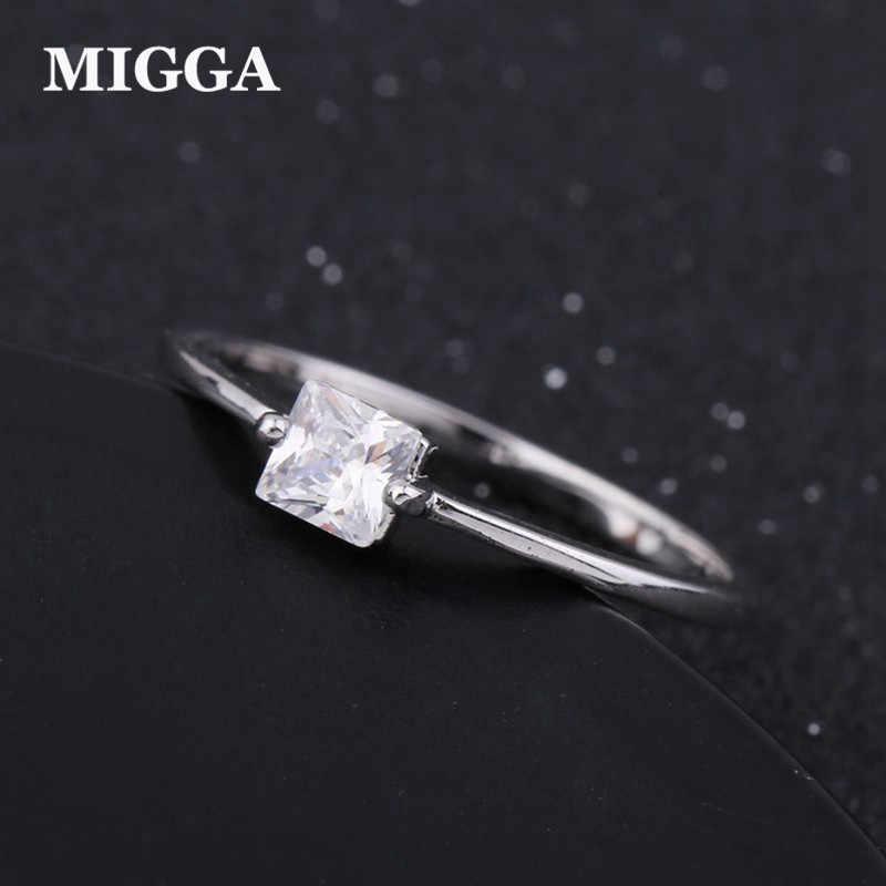 MIGGA conception classique AAA Grade carré cubique zircone Bague femmes dames fiançailles Bague de mariage bijoux