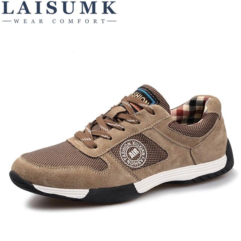 Laisumk En Nouvelle Plein Zapatos Cuir De Qualité Haute Hombre Air Arrivée Chaussures khaki Chaussures Hommes Casual Maille 2018 Véritable gray Noir dx8qE6wdf