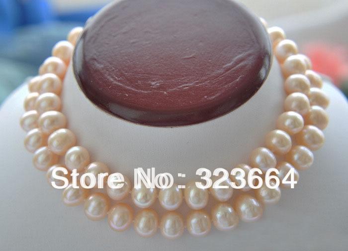 Collier de perles de culture d'eau douce rose rond de 32