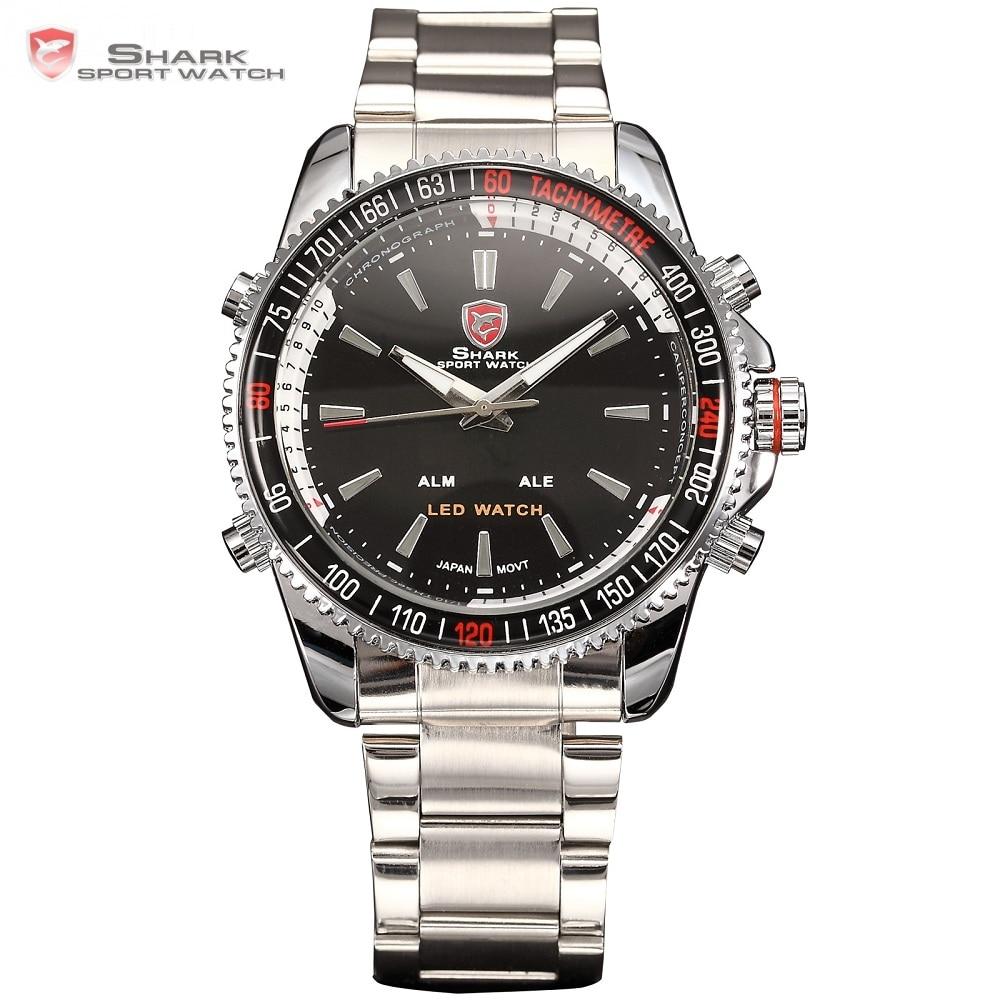 Mako SHARK Reloj deportivo Marca Luxury Luxury Army Men LED Digital Calendario Alarma Electrónica Relojes de acero a prueba de agua para hombre / SH003