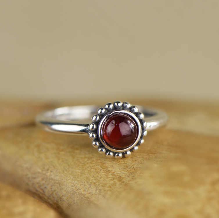 Mode Böhmischen Vintage Topas Ringe Für Frauen Mädchen Antiken Echt Silber Amethyst Granat Ring Handgemachte Feine Schmuck