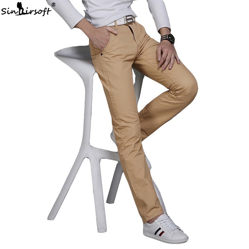 Fashion Hot New 9 Color Men's Cotton Slim Pants Casual Straight Pants Casual Fashion Business Trousers Calf Pencil Pants 36 38