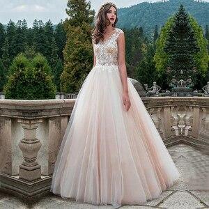 Image 1 - Vintage Scoop Neck Wedding Gowns Vestido de Novia Robe de Mariee A Line Illusion Bridal Dress Lace Appliques Wedding Dress