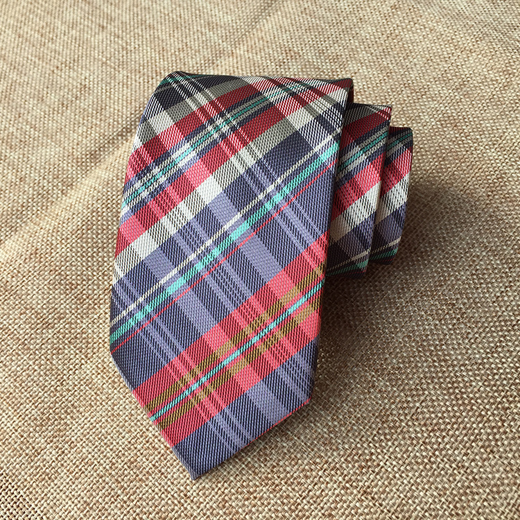 New Classic Checks Jacquard Woven Silk Men's Tie Necktie