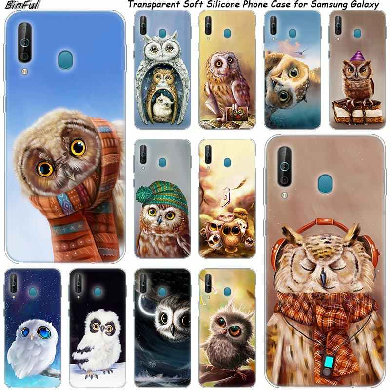 Cute owl Silicone Phone Case For Samsung Galaxy A80 A70 A60 A50 A40 A40S A30 A20E A2CORE M40 Note 10 Plus 9 8 5 Fashion Cover