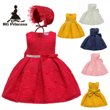 Free Shipping 3M-24M Cotton Lining Lace Dresses 2019 New arrival Red Baby Dress For 1 Year Birthday Toddler Party Gowns With Hat