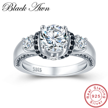 [BLACK AWN] Genuine 4.7g 925 Sterling Silver Jewelry Black&White Stone Wedding Rings for Women Round Engagement Ring Bague C433