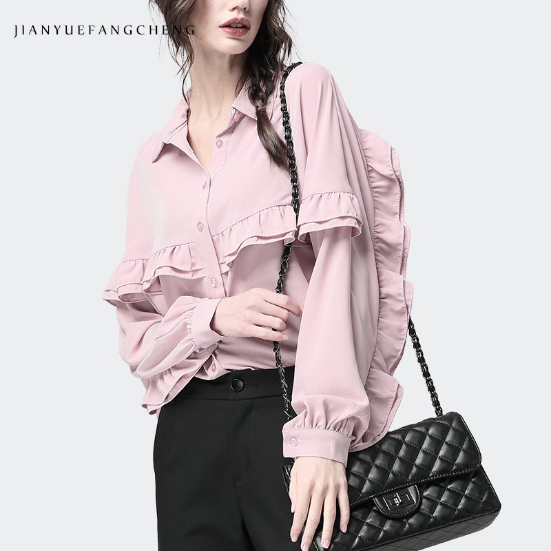 Élégant volants Blouse 2019 printemps été automne à manches longues haut pour femme col POLO chemise de grande taille S-4XL rose noir hauts blancs
