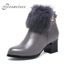2017 Autumn Winter Women Shoes Woman Genuine Leather Rabbit hair Snow Boots Height Increasing Ankle M3.5