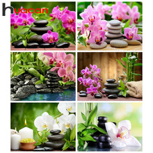 Huacan Full Diamond Embroidery Flower 5D Diy Painting Orchid Mosaic Home Decor Christmas Gift