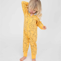 MAGGIE S WALKER Baby Rompers Outfits Boys Long Sleeve Banana Luxury Organic Cotton Climb Clothes Toddler