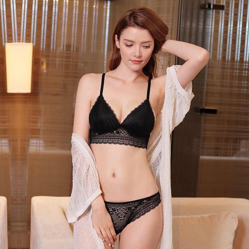 Femmes Sexy soutien-gorge ensemble français sans fil Bralette dentelle légèrement doublé Triangle soutien-gorge ensemble sous-vêtements V profond femme Lingerie livraison directe
