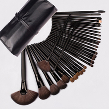 hot deal buy 24/32pcs makeup brushes set professional cosmetic powder brush kit with leather bag face lip eyes makeup tools pincel maquiagem