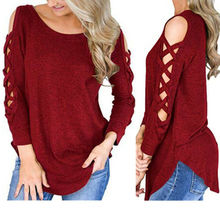 Women Long Sleeve Lace-up Cold Shoulder T-Shirt Ladies Casual O-Neck Tops Blouse pink tiered flounced details crossed front cold shoulder long sleeves t shirt