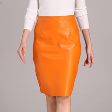 2016 European Fashion Women's High Waist Leather Skirt Ladies Wide Solid Slim Sexy Office OL Style PU Skirt