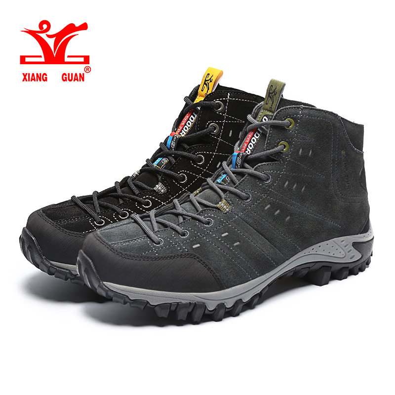 XIANG GUAN Man Outdoor Hiking Climbing Shoes Damping Breathable Grey Tactical Boots Protect Ankle Sneaker Men Sport Shoes peak sport men outdoor bas basketball shoes medium cut breathable comfortable revolve tech sneakers athletic training boots
