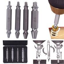 Juego de guía de brocas extractoras de tornillo dañado de 4 piezas herramienta de removedor de tornillo con perno de salida fácil