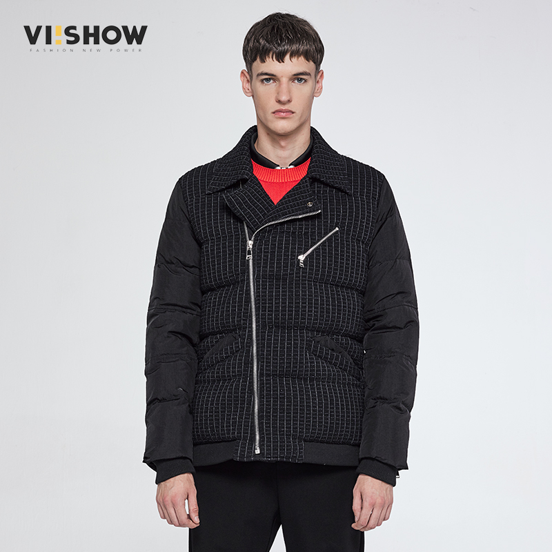 VIISHOW Mens Winter Jacket Men Brand Coat White Duck Down Parka Men Striped Coat Male Long Zipper Hip Hop Jacket YCZ1964