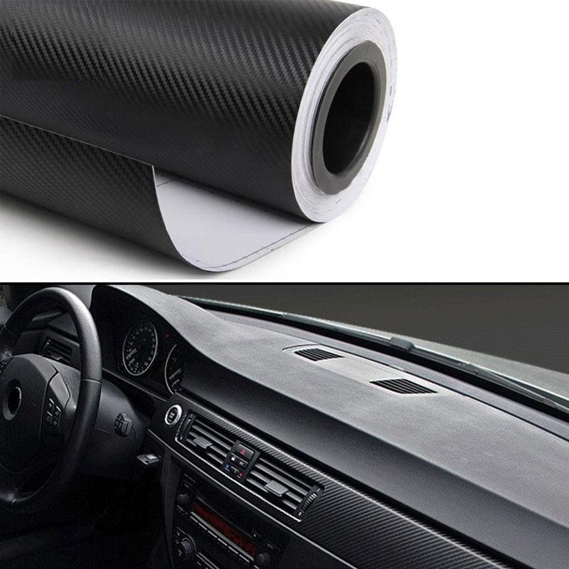 Car Dashboard Vinyl Wrap Decal Sticker 30x125cm Black Carbon Fiber Texture Styling For Ford Focus SKODA Cruze Elantra Kia VW