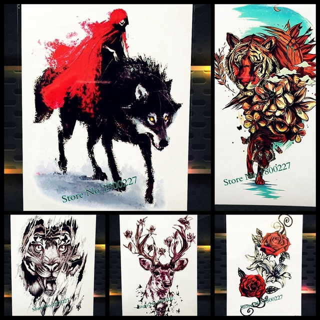 Cool Wolf Ghost Temporary Tattoo Watercolor Assassins Creed Tatoo Body Art Painting For Men Women Fake Arm Leg Tattoo Stickers