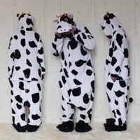 זוגות אוהבי סתיו החורף פלנל נשים לשני המינים שחורים חלב פרה לבן Onsies קוספליי בעלי החיים פיג 'מה הלבשת קריקטורה חתיכה אחת