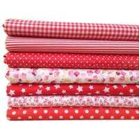 7 шт. 50 см * 50 см хлопок маленький цветочный обычный напечатанный хлопок ткань для ткани шитье лоскутное шитье ручной работы текстиль (красны...