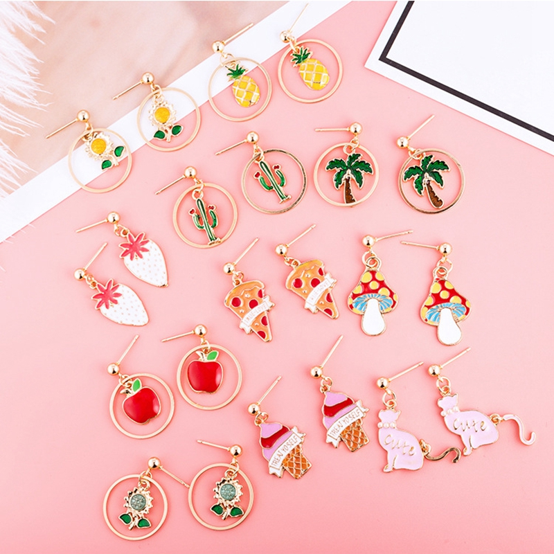 Fashion Summer Jewelry Plant Fruit Animal Drop Earrings Pineapple Strawberry Ice Cream Dangle Earrings For Women Girl Gift