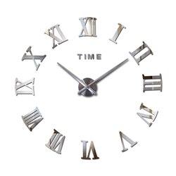 New large roman wall clock acrylic mirror diy clocks home decoration living room wall stickers modern design