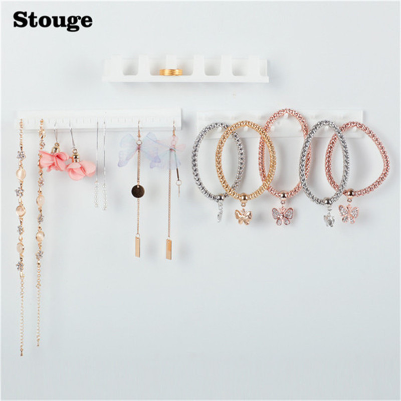 Stouge 1pc Plastic Jewelry Earring Necklace Hanger Holder Organizer Packaging Display Rack Sticky Hooks Wall Mount