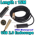 Hot Sale 15m 14mm Lens 4 LED USB Waterproof Borescope Endoscope Inspection Snake Sewer Tube Mini Endoscope Borescope Camera